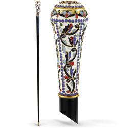 WALKING STICK ENAMEL GOLD PAINTED